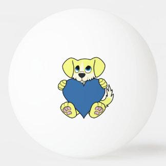 炎及び青いハートのバレンタインデーの野良犬 卓球ボール