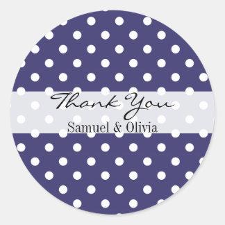 点々のあるなインディゴの円形のカスタムなポルカはラベル感謝していしています 丸形シール・ステッカー