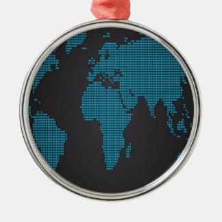 点々のあるな世界地図のデザイン メタルオーナメント