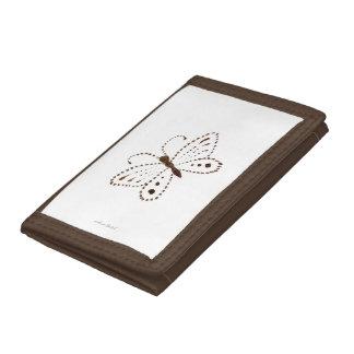 点々のあるな蝶財布 ナイロン三つ折りウォレット