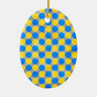 点々のあるな青および黄色の動揺してなポルカ セラミックオーナメント