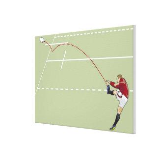 点々のあるなtouchに球を蹴っているラグビープレーヤー キャンバスプリント