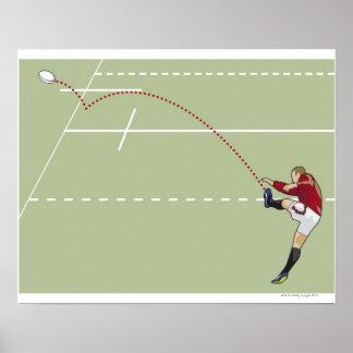 点々のあるなtouchに球を蹴っているラグビープレーヤー ポスター