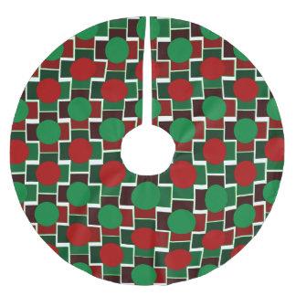 点およびブロックの幾何学的なクリスマスツリーのスカート ブラッシュドポリエステルツリースカート