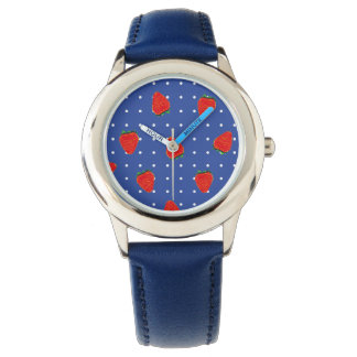 点が付いているいちごパターン 腕時計