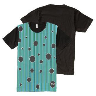 点との緑および青のブレンド オールオーバープリントT シャツ