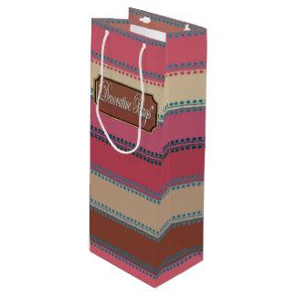 点のインラインピンクの茶色のストライプのなワインのギフトバッグ ワインギフトバッグ