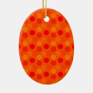 点のオレンジ楕円形のオーナメントを見ること セラミックオーナメント