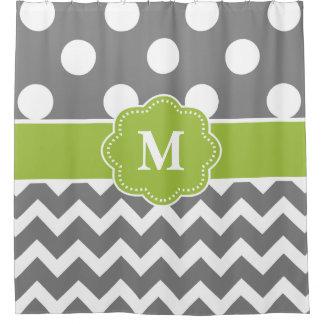 点のシェブロンの灰色の緑のモノグラム シャワーカーテン