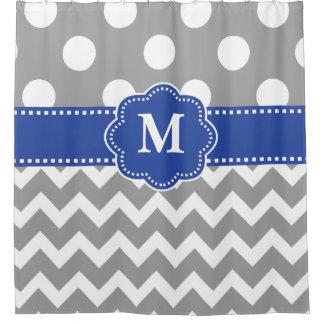 点のシェブロンの灰色の青いモノグラム シャワーカーテン