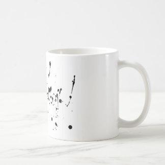 点のマグ。 白黒表現。 汚れ コーヒーマグカップ