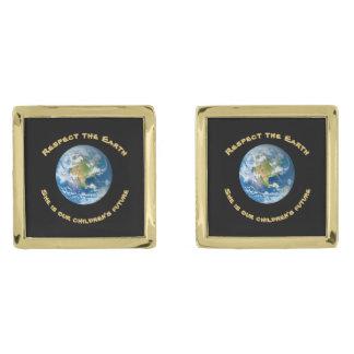 点の惑星の地球のカフスボタン ゴールド カフスボタン
