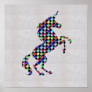 点の色彩の鮮やかなユニコーンの角の馬   NavinJOSHI NVN125 ポスター