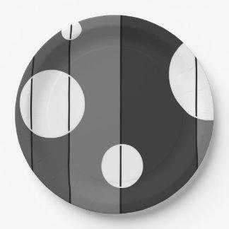 点は灰色で縞で飾り、 ペーパープレート