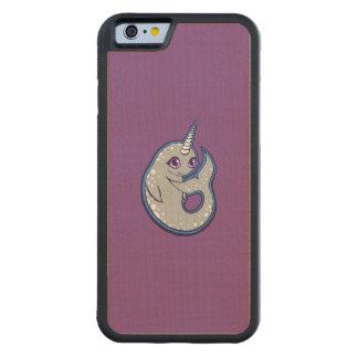 点インクスケッチのデザインのNarwhalの灰色のクジラ CarvedメープルiPhone 6バンパーケース