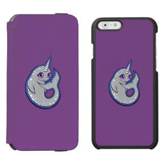 点インクスケッチのデザインのNarwhalの灰色のクジラ iPhone 6/6sウォレットケース