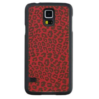 点刻されたクランベリーの赤いヒョウのプリント CarvedメープルGalaxy S5スリムケース