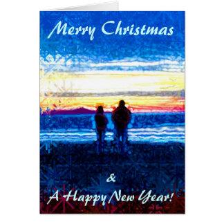点刻された日没のクリスマスカード グリーティングカード