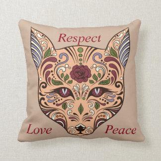 点愛平和砂糖のスカルのオオカミの藤色の枕 クッション