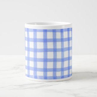 """""""点検された青及び白い""""大きいマグのジャンボマグ ジャンボコーヒーマグカップ"""