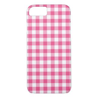 点検されるプレッピーなピンクおよび白いギンガム iPhone 8/7ケース