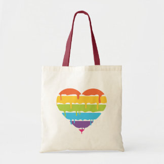 点滴注入のペンキとの虹のハート トートバッグ