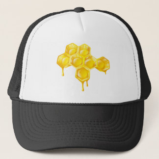点滴注入の蜂蜜が付いている蜜蜂の巣 キャップ