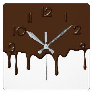 点滴注入チョコレート-柱時計 スクエア壁時計