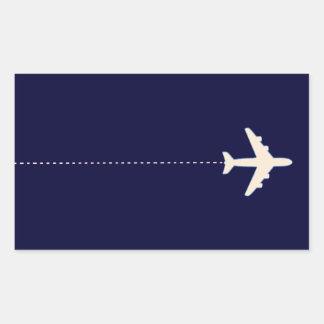 点線が付いている旅行飛行機 長方形シール