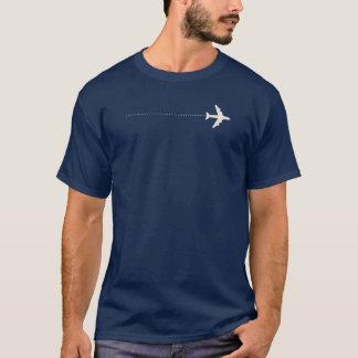 点線が付いている旅行飛行機 Tシャツ