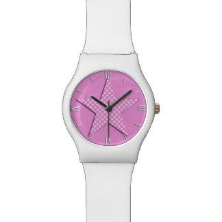 点-ピンクの色合いのパターン(の模様が)ある主演して下さい 腕時計