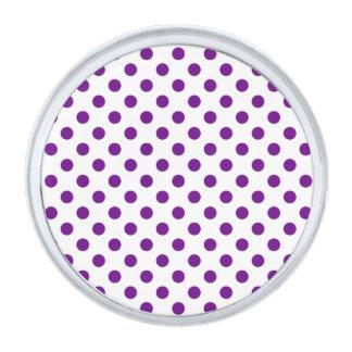 点-暗い紫色の(水玉模様のデザインの) ~ シルバー ラペルピン