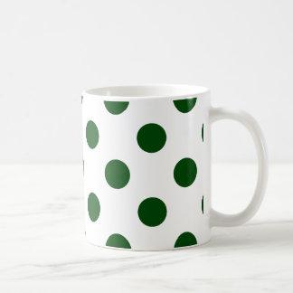 点-深緑の(水玉模様のデザインの) ~ コーヒーマグカップ