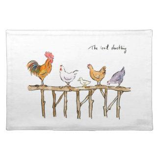 無くなった子ガモ、鶏および子ガモ ランチョンマット