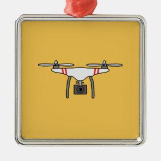 無人機のQuadcopterの飛んでいるな前部 メタルオーナメント