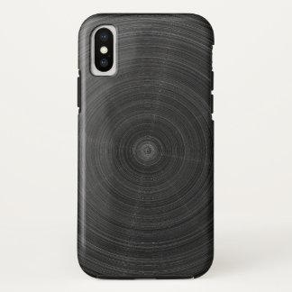 無光沢の黒い円の鋼鉄粉砕 iPhone X ケース
