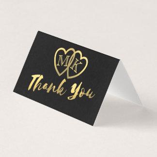 無光沢の黒い金ゴールドのハートの小型サンキューカード プレイスカード