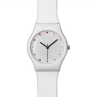 無地ので白い色の虹色の破片 腕時計