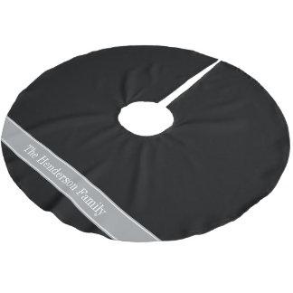 無地ので黒い、ダークグレーのリボンの名前のモノグラム ブラッシュドポリエステルツリースカート