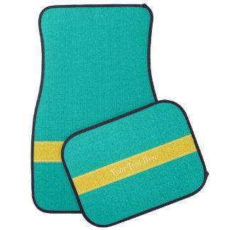 無地のなティール(緑がかった色)、パイナップルリボンの名前のモノグラム カーマット