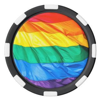 無地のなプライド-ゲイプライドの旗のクローズアップ ポーカーチップ