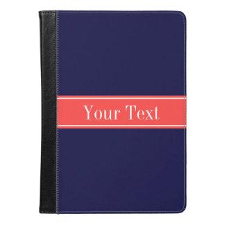無地のな濃紺の珊瑚の赤いリボンの名前のモノグラム iPad AIRケース