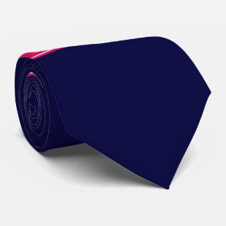 無地のな濃紺、ラズベリーのリボンの名前のモノグラム ネクタイ