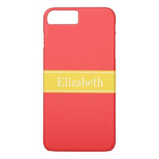 無地のな珊瑚の赤、パイナップルリボンの名前のモノグラム iPhone 8 PLUS/7 PLUSケース
