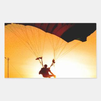 無地のな着陸のパラシュートの日没 長方形シール