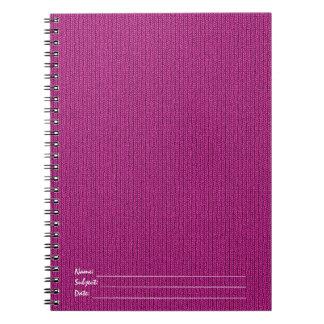 無地のな赤紫のニットのStockinetteステッチパターン ノートブック