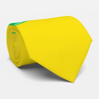 無地のな黄色い、エメラルドグリーンのリボンの名前のモノグラム ネックウェアー