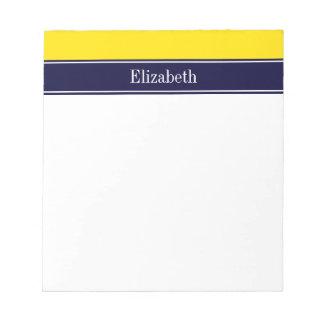 無地のな黄色、海軍一流の一流のモノグラム ノートパッド
