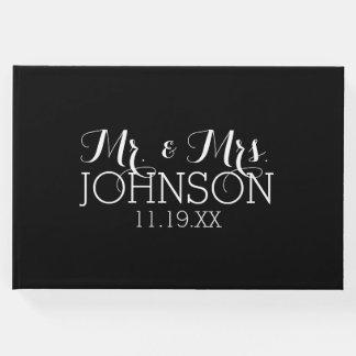 無地の黒の氏及び夫人結婚式の引き出物 ゲストブック