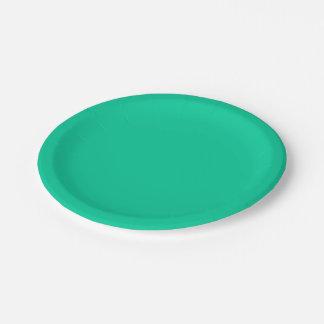 無地: カリブの緑 ペーパープレート